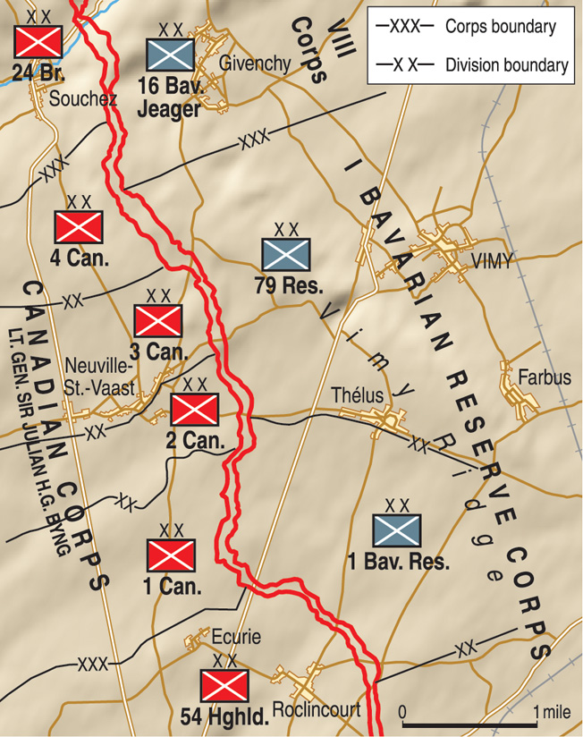 Three German divisions in Col. Gen. Ludwig von Flkenhausen's Sixth Army defended Vimy Ridge above the Scarpe Valley in northern France.