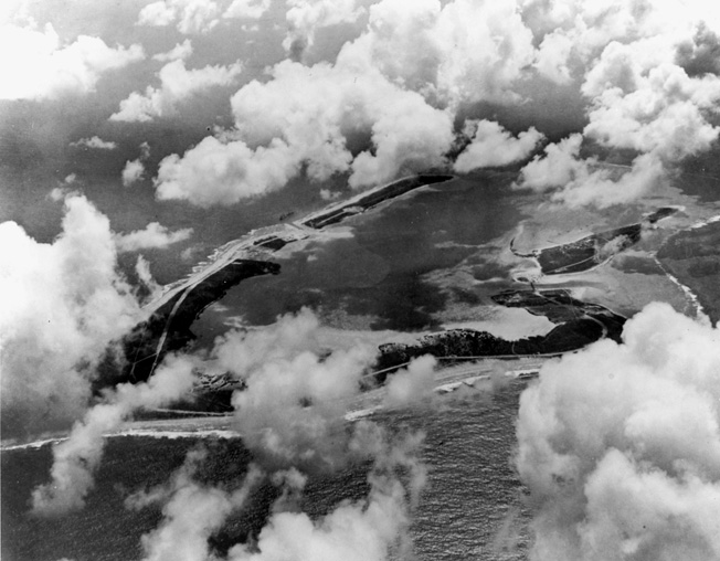 A good aerial view of V-shaped Wake Island atoll was taken in the spring of 1941.