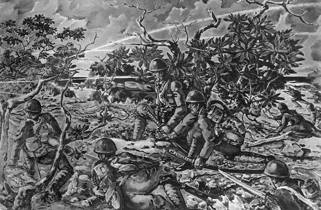 A Japanese artist painted this detailed image of his fellow troops, some carrying samurai swords, assaulting the American positions at Wake Island.