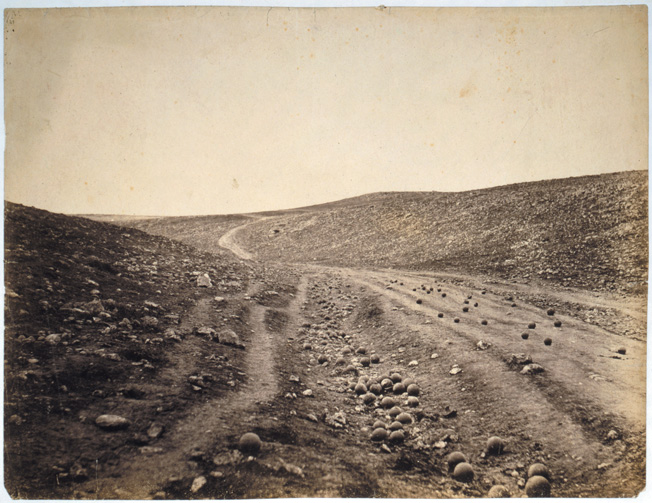 Roger Fenton's phtograph of a Crimean gulley littered with Russian cannonballs was misidentified as the site of the Charge of the Light Brigade.