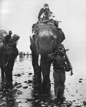 Japanese troops use elephants to cross the rugged terrain of Burma during World War II.