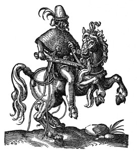 A heavily armed german light pistoleer of the 16th century sports one wheel lock in his right hand, a second hooked through his belt, and two more below his left hand.