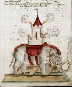 Medieval drawing of an elephant bearing a castle armed with a cannon.