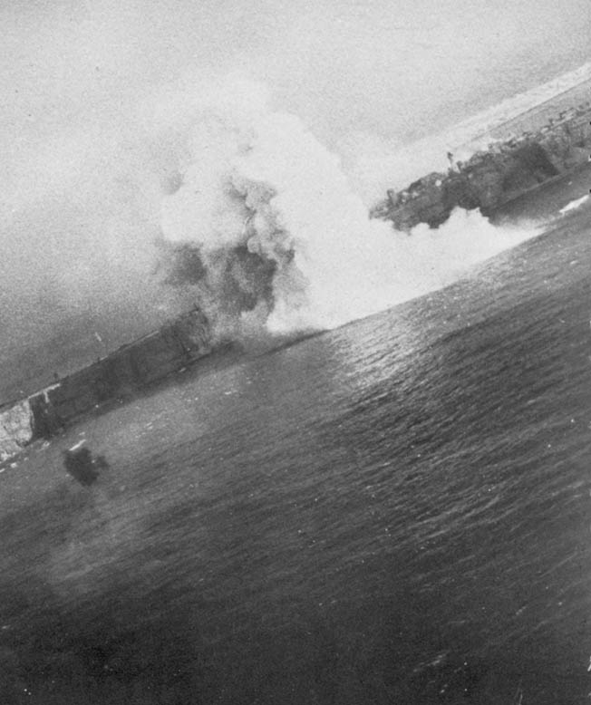 After antiaircraft fire has pushed it off course, an Operation Aphrodite drone crashes into the water short of its target. Operation Aphrodite was innovative and ahead of its time, but plagued with technical flaws.