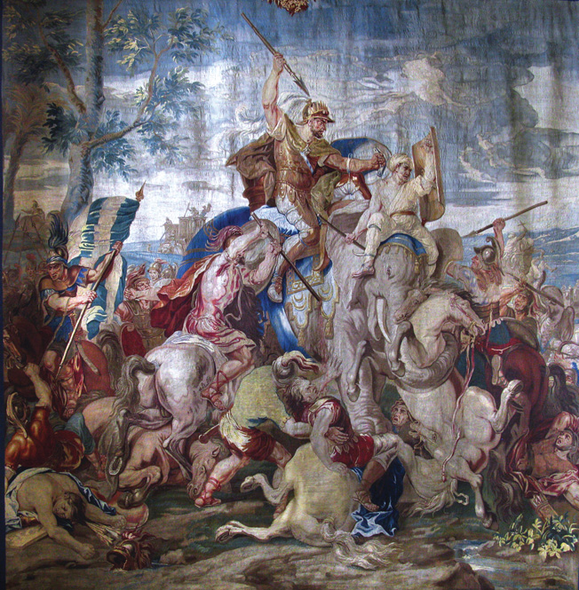 As depicted in this 17th-century tapestry, war elephants helped Alexander the Great defeat Persian King Darius III at Gaugamela in 331 bc.