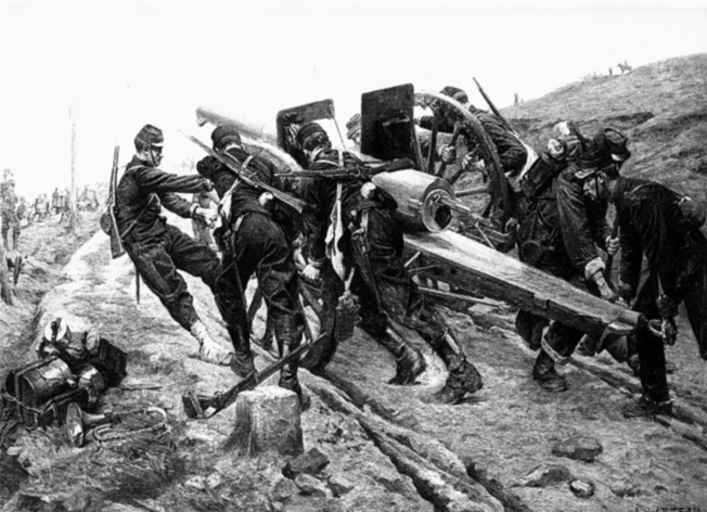 A rare artistic depiction of the 75mm cannon on the move. French forces used the quick-firing cannon in campaigns in China and Morocco in the early 1900s.