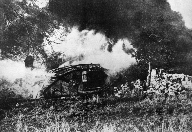 A British tank engulfed in flames during World War I.