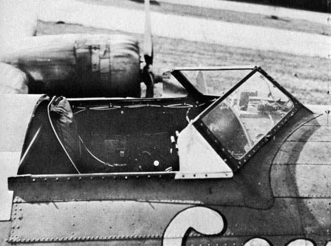 Standard Boeing B-17 Flying Fortress or Consolidated B-24 Liberator bombers were modified to participate in Operation Aphrodite. Here, the open cockpit of a modified bomber is shown with its top removed.