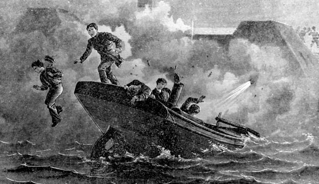 Lieutenant Cushing and his fellow raiders abandon their launch as their spar torpedo explodes against the unarmored wooden hull of the Albemarle.