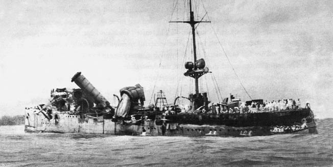 The Australian cruiser Sydney inflicted heavy damage on the Emden in the Battle of Cocos as this after-action photo reveals.