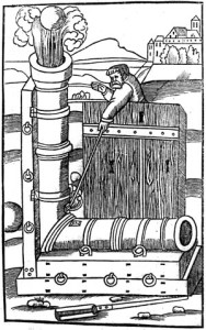 An improbable right-angle mortar-cannon combination is depicted in this 1532 woodcut.