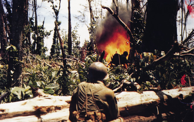 Marines use a flamethrower at the top of the Solomon Islands, a misery of jungles, snakes, and Japanese snipers.