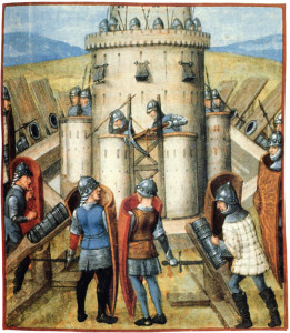 Assault on a 15th-century castle. The besiegers have bombards, an early form of cannon, greatly improving their odds of success.