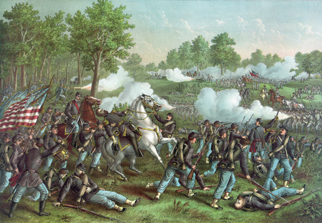 Mortally wounded, Brigadier General Nathaniel Lyon reels in the saddle at Wilson's Creek. He died almost immediately.