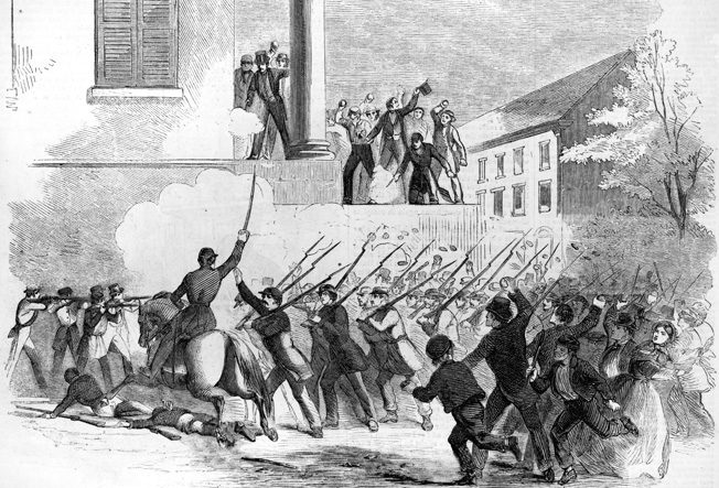 U.S. Volunteers are attacked by pro-Southern St. Louis civilians at the corner of 5th and Walnut Streets.