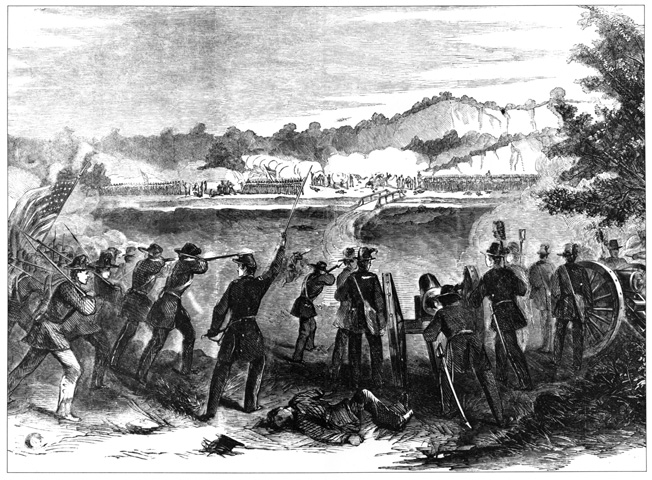 Union troops press the Missouri State Guard at Carthage on July 5, 1861. They were unsuccessful in their attack.