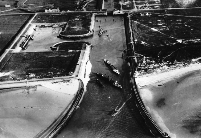 A German aerial photograph shows the damage inflicted on the Belgian port at Zeebrugge following the historic Allied raid.