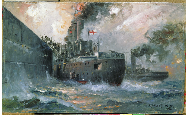 The Liverpool ferryboat Daffodil rides alongside the crusider Vindictive</em as Royal Marines disembark the cruiser's battered decks in this painting by Charles. J. de Lacy.