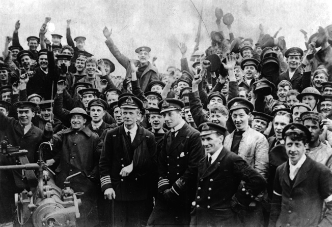 Vindictive captain Alfred Carpenter poses with proud veterans of the raid.