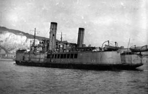The Mercy River ferryboats Iris and Daffodil lie safetly off the coast of Dover following the raid on Zeebrugge.
