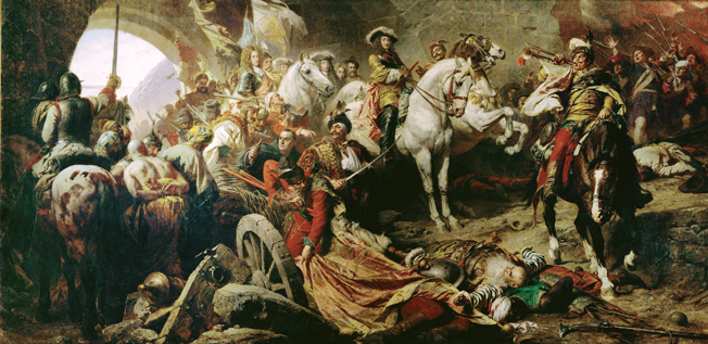 Recapture of Buda Castle from the Turks, 1686. Prince Eugene of Savoy mounted, right-center.
