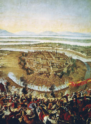 Forces commanded by Charles V, Duke of Lorraine, and John III Sobieski, King of Poland, drive back the Turkish armies besieging Vienna in 1683.