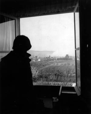 An American soldier looks out over Heilbronn from an observation post.