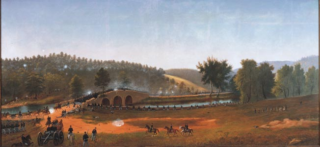 The 51st Pennsylvania Volunteers rush Burnside's Bridge at Antietam.