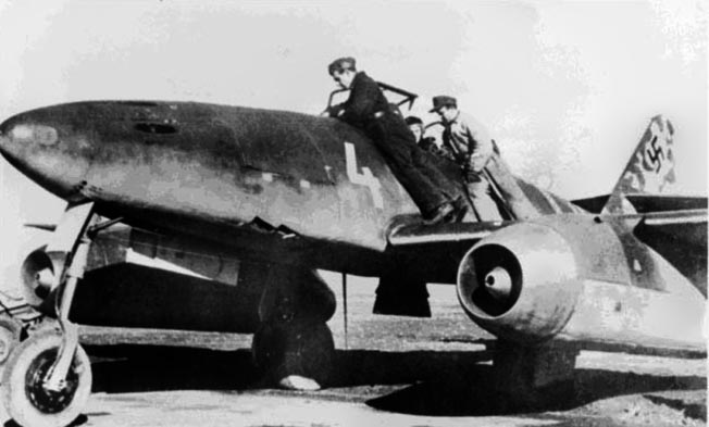 An Me-262 being prepped by its ground crew. The jet fighter had a top speed of 540 miles per hour and took great skill to fly.