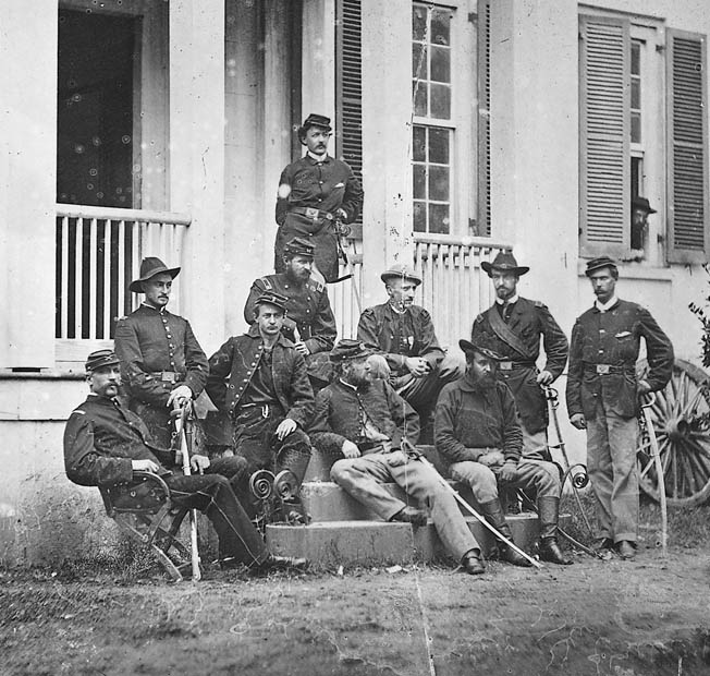 James Wilson, front row center, lounges with his staff in Virginia in 1864. Wilson was a special protégé of Ulysses S. Grant and Phil Sheridan, two generals who were not ordinarily easy to impress.