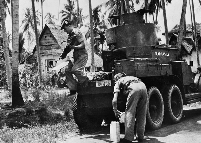 British forces were without armored support during their defense of the Malay Peninsula. Only a few obsolete armored cars were available, such as this Lanchester armored car.
