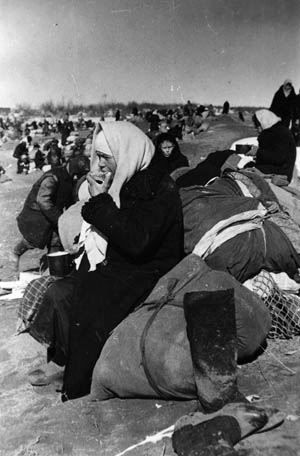 Evacuated residents of Leningrad await transportation and ponder their future after crossing Lake Ladoga in April 1942.
