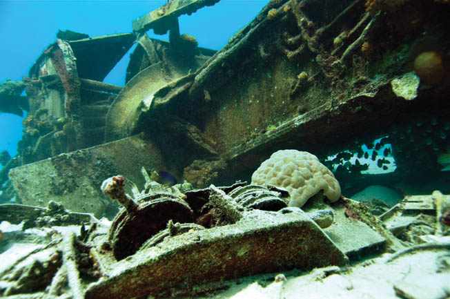 The remains of an American Martin PBM Mariner flying boat lie upside down in 23 feet of water and trail a debris field 300 feet long.