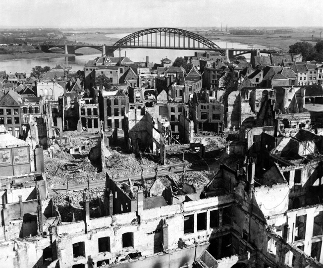 The Waal River highway bridge and the ruins of Nijmegen, shown after the battle.