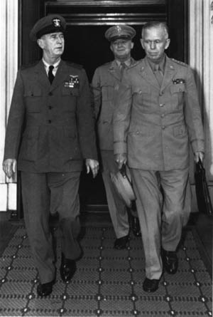 The U.S. Chiefs of Staff, Admiral King, General Arnold, and General Marshall, leave the White House on June 6, 1944, after briefing the president on D-Day.