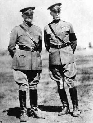 General John J. Pershing (left) and his aide, Colonel Marshall, photographed in France, 1918.