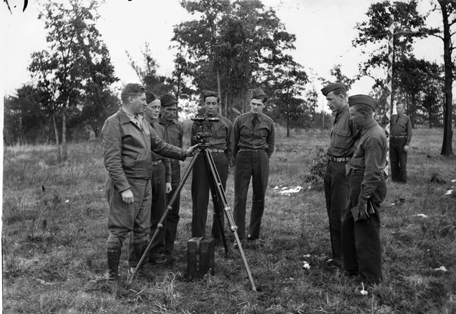 Marshall expanded the professionalism of the Army during the interwar years. Here a group of Army engineers attends a class in surveying.