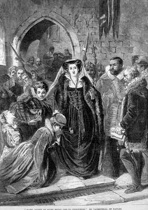 Walsingham was responsible for sending many high- and low-born individuals to the executioner's scaffold. He uncovered plots by Mary Queen of Scots to dethrone Queen Elizabeth I. Mary, the Catholic claimant to the English throne, is shown going to her execution in 1587.