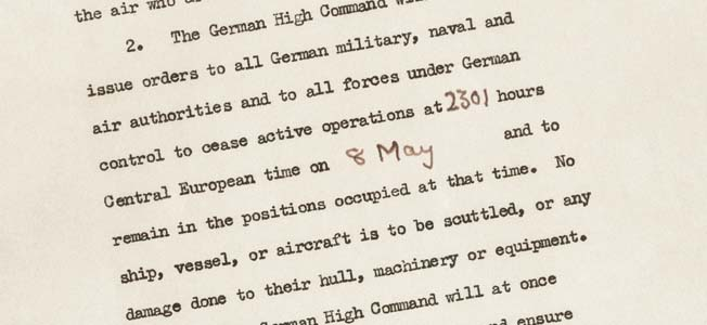 Today, May 8, 1945 is known as 'V-E Day,' marking the surrender of Germany and the Axis powers in Europe.