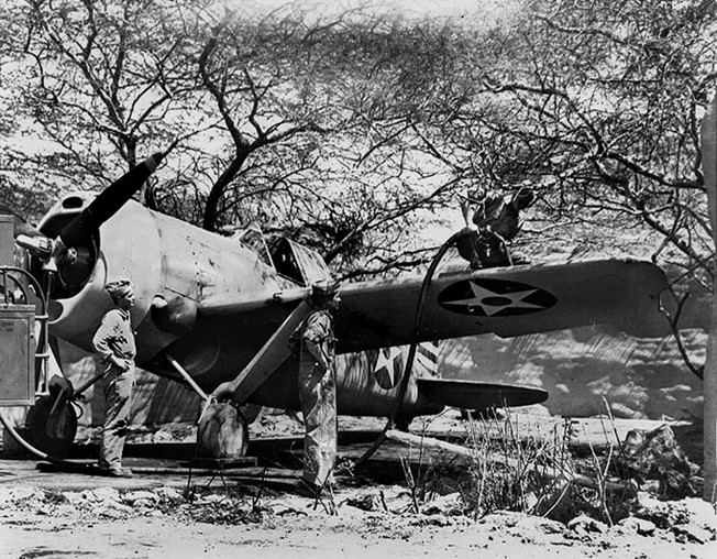 Already obsolescent at the outbreak of war, this Marine Brewster F2A-3 Buffalo is shown during refueling at Ewa Field, Oahu, just weeks before the Battle of Midway.