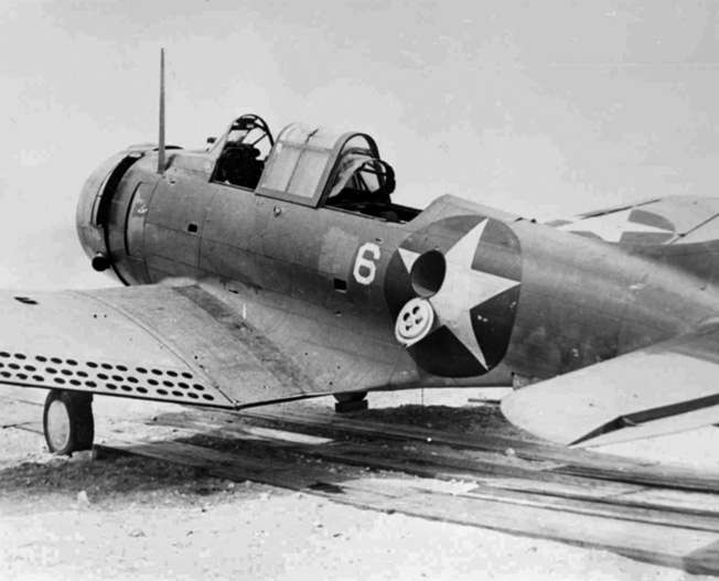 This Douglas SBD-2 Dauntless dive bomber, flown by Lieutenant Daniel Iverson with his gunner Private Wallace Reid, was one of only eight from VMSB-241 to return from the attack against the Japanese fleet on June 4. The plane had 219 holes from enemy fire.