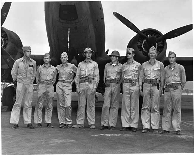 Surviving VMF-221 pilots photographed at Ewa Field, Oahu, about three weeks after the battle.