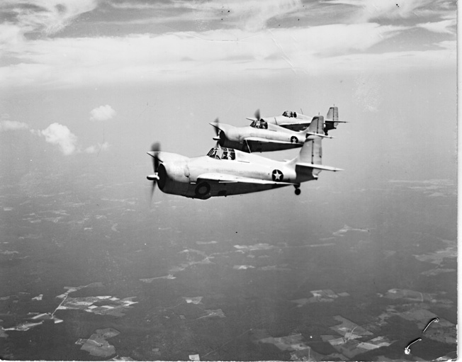 A formation of Marine Grumman F4F-3 Wildcat fighters photographed in 1941.