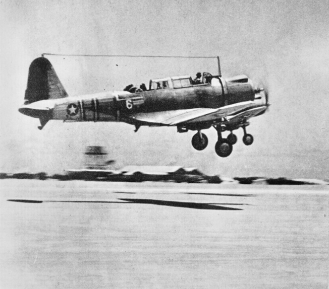 A Vought SB2U-3 takes off from Midway on a training flight a few days before the Battle of Midway. This particular Vindicator was flown on June 4 by 2nd Lt. James H. Marmande and disappeared about 10 miles from Midway.
