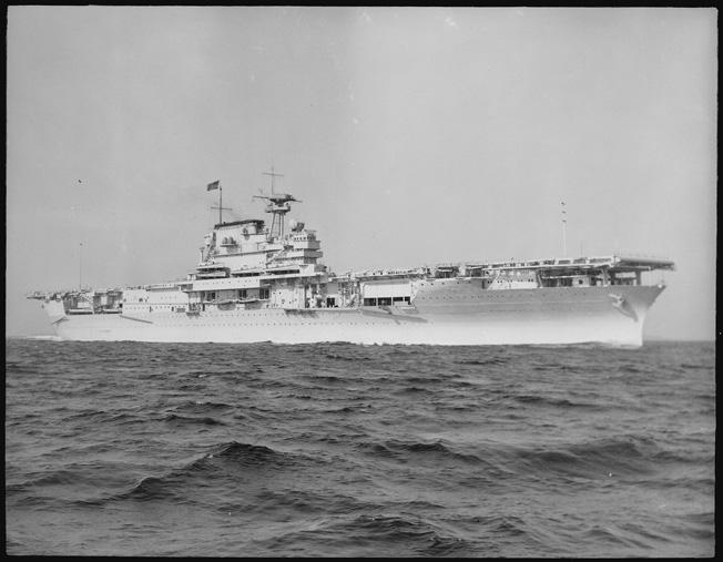 USS Yorktown photographed underway at Hampton Roads, Virginia, not long after she was launched in 1937.