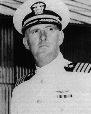 Yorktown's skipper, Captain Elliott Buckmaster.