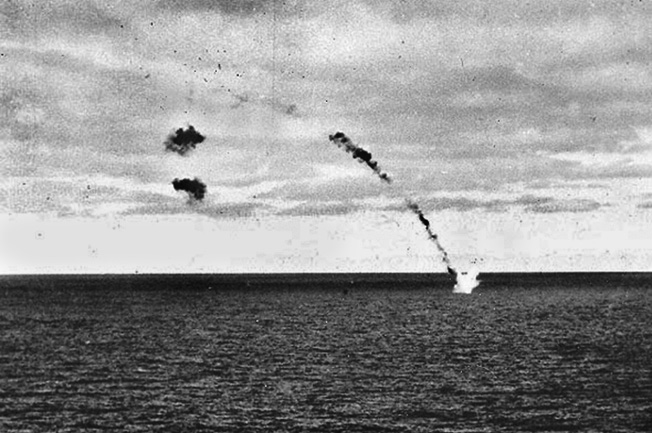 """Ray Daves saw this Japanese aircraft, probably a Nakajima Type 97 """"Kate,"""" shot down while attempting to attack the Yorktown during the afternoon of June 4."""