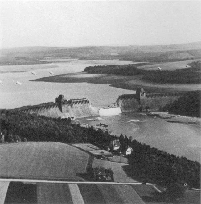 The destroyed Möhne dam east of Dortmund, photographed several hours after the raid.