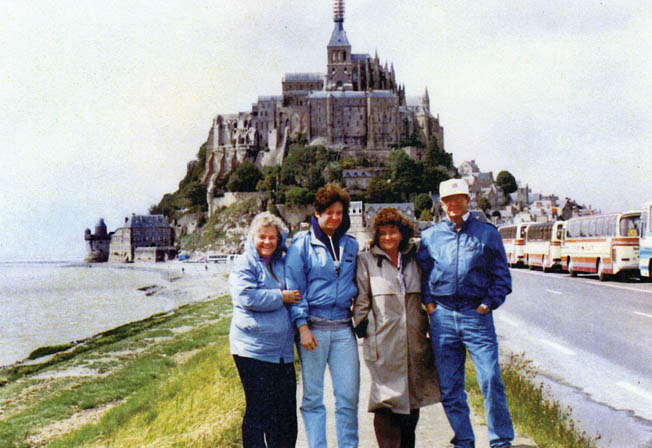 Freeman Brougher (right) brought his wife (left) and children to Mont Saint Michel in the summer of 1987.