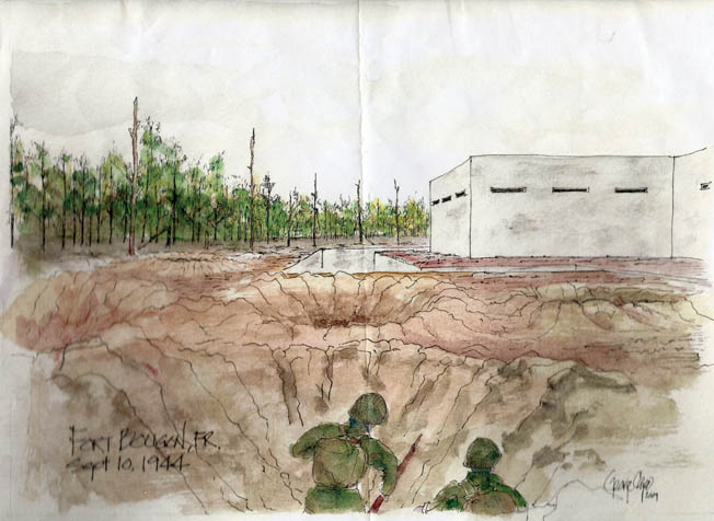 A watercolor sketch by George Cape, a friend of Sheffloe's, depicts the day Sheffloe was wounded outside Fort Boughan on September 10, 1944.